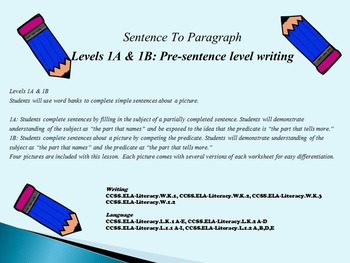 Pre-sentence Writing Levels 1A and 1B