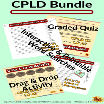 Level 2 CPLD Word Search Drag & Drop Activity, Graded Assessment Quiz & Timers