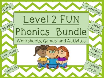 Level 2 FUN phonics bundle: activities, games, worksheets