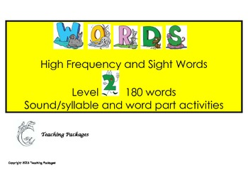 Level 2 High Frequency Words and Sight Words Standard Australian English