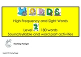 Level 2 High Frequency Words and Sight Words Standard Aust