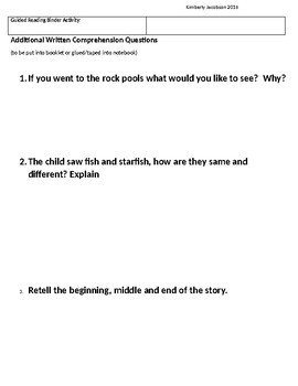 Level 2 Reader Fiction & Non-Fiction Comprehension Guided Reading Questions