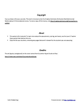 Special Education Assessment Packet Level 2 Student