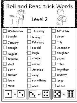 Level 2 Trick Words Roll and Read