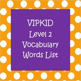 Level 2 Vocabulary Words List