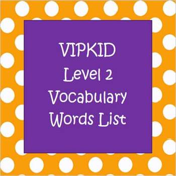 Level 2 Vocabulary Words List