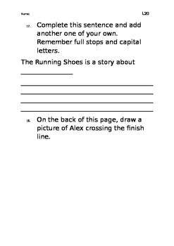 Level 20 text: The Running Shoes worksheet
