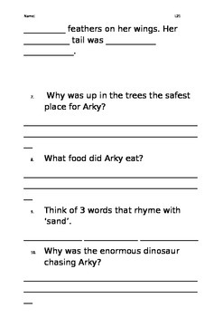 Level 21 text: Arky the Dinosaur with Feathers worksheet
