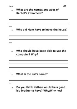 Level 24 text: Too Many Cooks worksheet