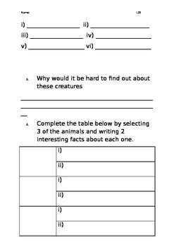 Level 25 text: Creatures of the Deep worksheets