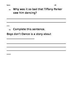 Level 26 text: Boys Don't Dance worksheets