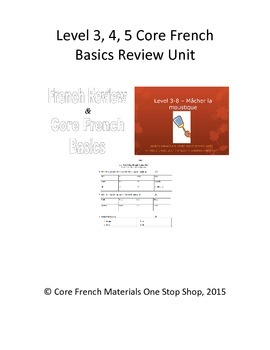 Level 3, 4, 5 Core French Basics Review Unit Bundle