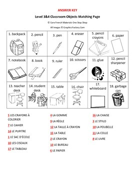 Level 3&4 Classroom Objects&Puis-Je Sayings Review Matching Page
