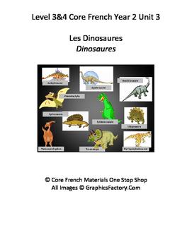 Level 3&4 Core French Year 2 Unit 3 Dinosaur Unit Bundle