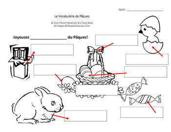 Level 3&4 Easter French Vocabulary Labeling Images Handout