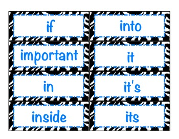 Level 3 Core Word Cards- Zebra Print