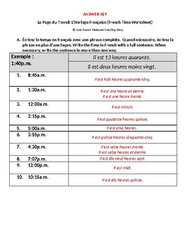Level 3 Simplified French Telling Time Worksheet