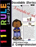 Level 3 Unit 2  Decodable Stories and Comprehension 111 Rule & 3 sounds of ed