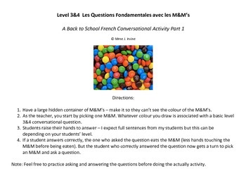 Level 3 and 4 Back to School Activity: M&M Conversational Activity