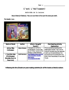 Level 3 and 4 Halloween Books Post Reading Activity