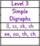 Level 3 (ll, ss, ch, ck, sh, th, ee, oo)