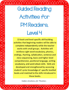 Level 4 Guided Reading Activities for PM Readers