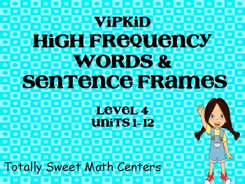 Level 4 High Frequency Words and Sentence Frames