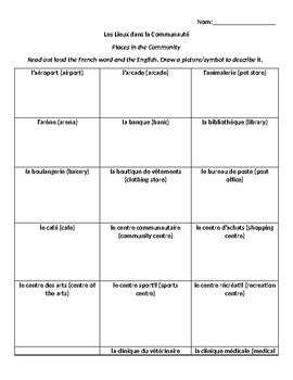 Level 4 Places in the Community Vocabulary Drawing Dictionary