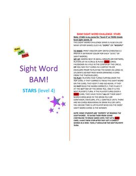 Level 4_STARS Sight Word BAM! Game