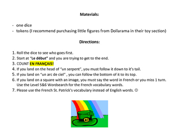 Level 5&6 St. Patrick's Day French Board Game