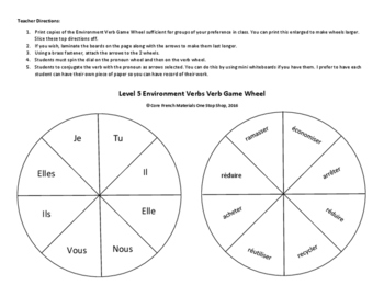 Level 5 Environment Verbs Verb Wheel Game