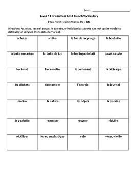 Level 5 Environmental Initiatives Unit Vocabulary Handout