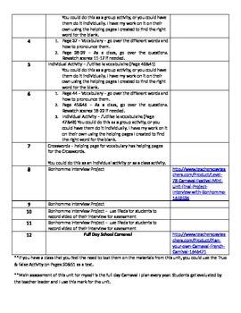 Level 7&8 Mini Unit (Year 1):Bonhomme Interview Unit Outline&Assessment