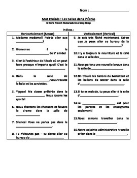 Level 5 Rooms in the School French Vocabulary Crossword and Wordsearch