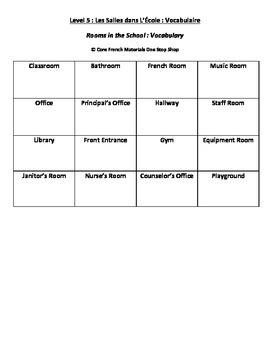 Level 5 Rooms in the School Vocabulary Handout