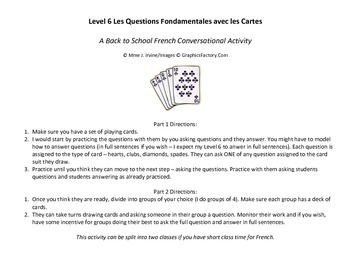 Level 6 Back to School Conversational Activity with Playing Cards