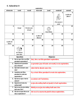 Level 6 Calendar and Questions Worksheet