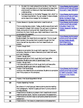 Level 6 Core French Year 1 Unit 4 Quebec Travel Unit Outline