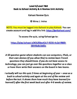 Level 6, Level 7, Level 8 Back to School & Review Unit Activity: Kahoot Quiz