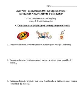 Level 7&8 Consumerism Unit Introduction Activity