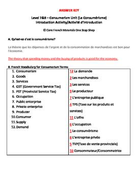 Level 7&8 Consumerism Unit Vocabulary