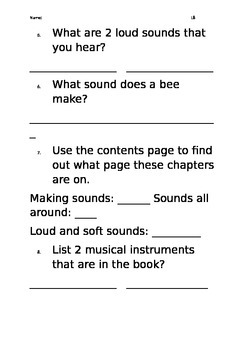 Level 8 text: Sounds worksheet
