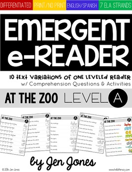 Level A Emerging e-Reader & e-Activities: At the Zoo (English & Spanish)