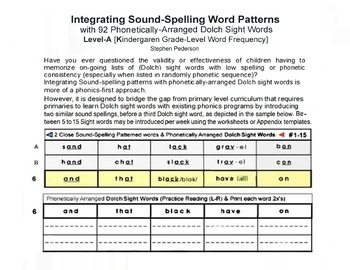 Level-A [K]  Integrating Sound-Spelling Patterns with 92 Dolch Sight Words