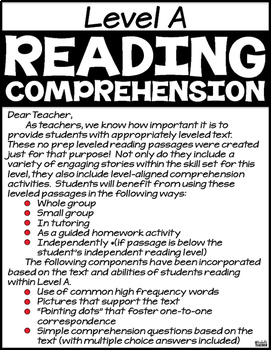 Level A Reading Comprehension Passages