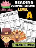 THANKSGIVING - Level A Reading Comprehension Passages & Questions
