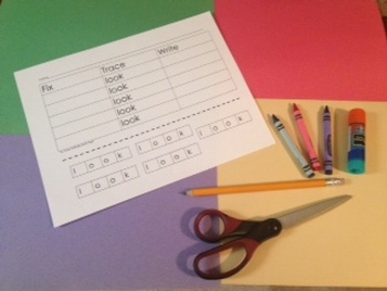 Level A Sight Words Fix Trace Write Activity