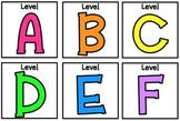 Neon Rainbow Level (A-Z) Book Bin Labels (3x3)