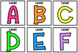Neon Rainbow Level (A-Z) Book Bin Labels (3x3)