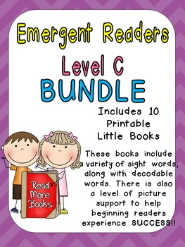 Level C Emergent Reader Bundle for Kindergarten- Guided Reading Leveled Readers